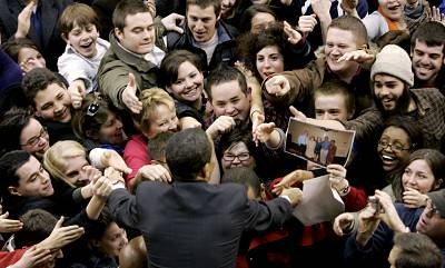 Barack Obama greets an enthusiastic crowd before a campaign speech in Denver on Jan. 30, 2008.