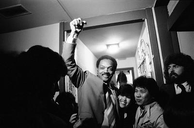 Rev. Jesse Jackson arrives at a home in California after campaigning for president in 1984. Jackson carried majorities of the black vote in every state.