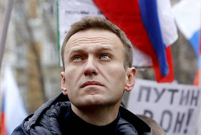 Alexei Navalny attends a rally in memory of slain politician Boris Nemtsov in Moscow on Feb. 24.