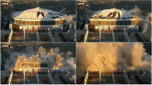 Watch: US football stadium blown up in controlled explosion