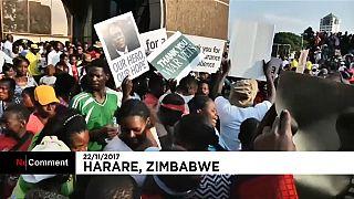 Miles de personas celebran la dimisión de Mugabe