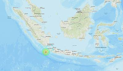 A USGS shake map shows the intensity of an earthquake that struck off the coast of Indonesia\'s Sumatra on Aug. 2, 2019.