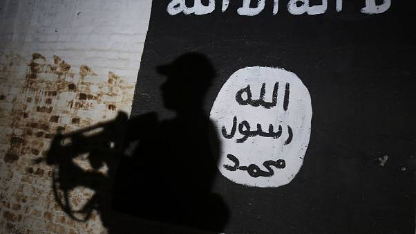 Image: An Iraqi forces member walks past a mural with the ISIS logo in the