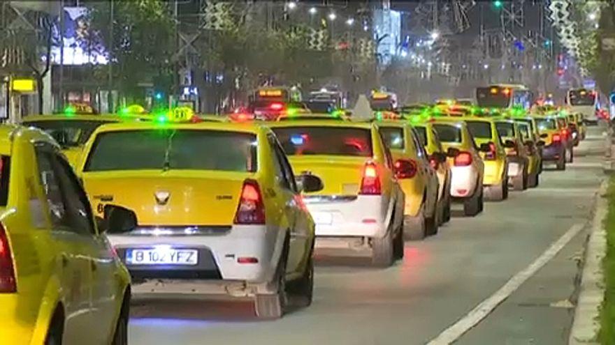 Protesta espontánea contra Uber en Rumanía