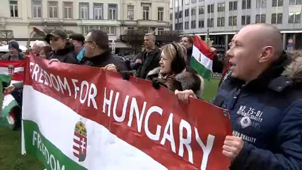 Hungary protest in Brussels