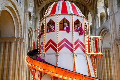 A Victorian helter skelter ride sits in Norwich Cathedral