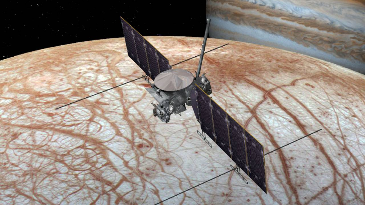 Image: This artist's rendering shows NASA's Europa Clipper spacecraft being