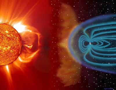 Earth\'s magnetic field guards the planet against solar radiation.