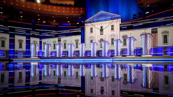 Image: The stage before the first Democratic presidential primary debate ho