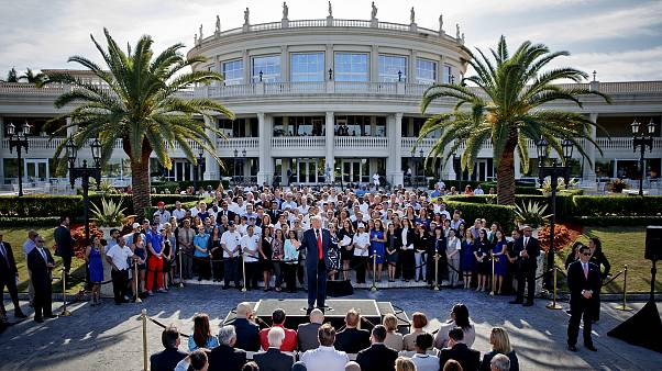 Image: Donald Trump speaks at a campaign event at Trump National Doral in M