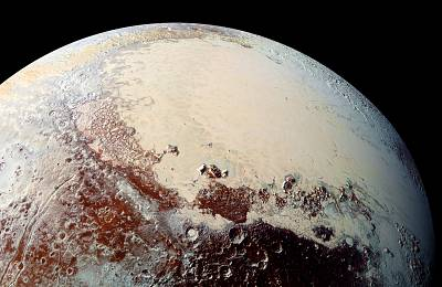 NASA\'s New Horizons spacecraft captured this image of Sputnik Planitia -- a glacial expanse rich in nitrogen, carbon monoxide and methane ices -- that forms the left lobe of a heart-shaped feature on Pluto\'s surface.