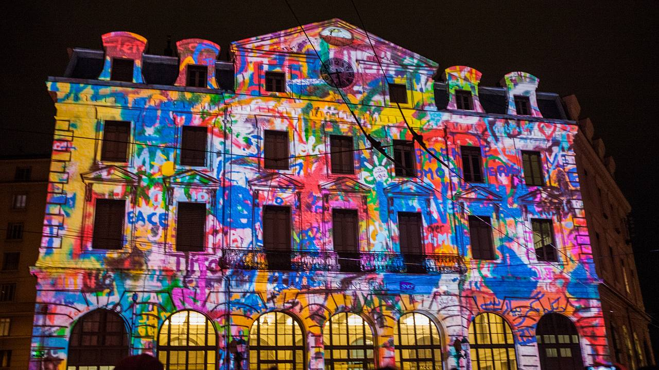 Lyon lit-up for the Fete des Lumieres