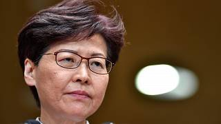 Image: Hong Kong Chief Executive Carrie Lam speaking to the media during a