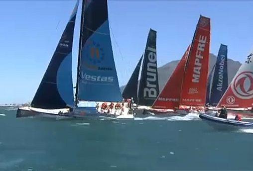 مرحله سوم مسابقات قایقرانی «ولوو اوشن ریس» در کیپ تاون استارت خورد