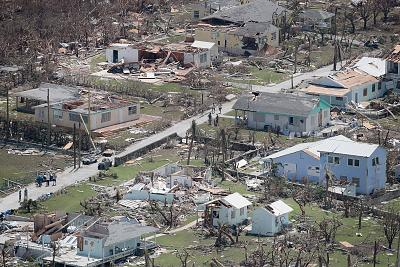 An aerial view of damage caused by Hurricane Dorian is seen on Great Abaco Island, Bahamas, on Wednesday.