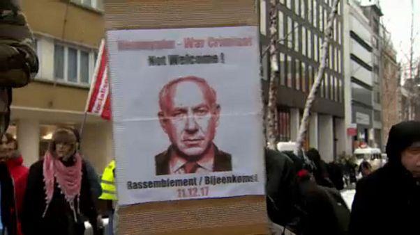 Activistas pro palestina abuchean en Bruselas la visita de Netanyahu