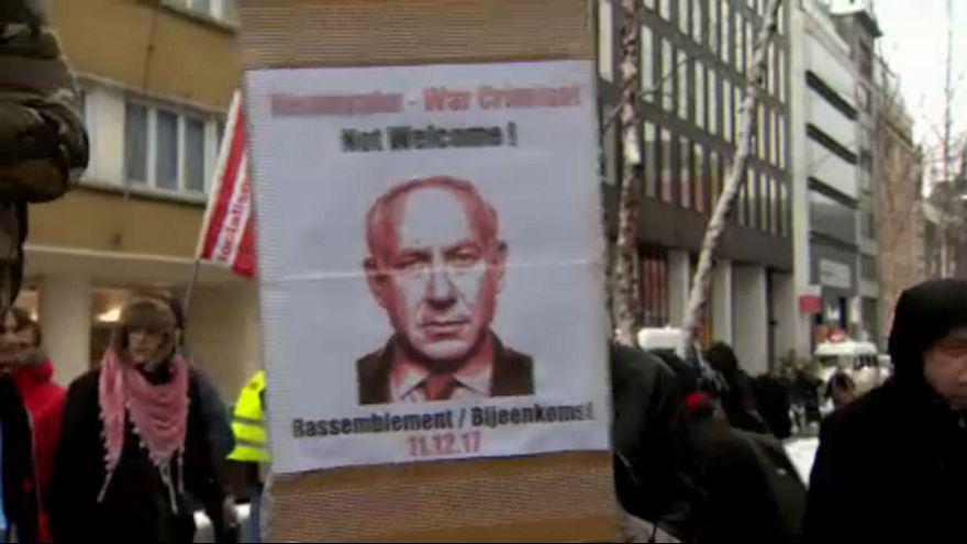 In piazza a Bruxelles contro il premier israeliano Netanyahu