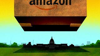 Illustration of a huge Amazon box hovering over Washington D.C.