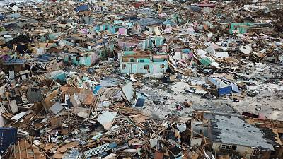 Homes flattened by Hurricane Dorian are seen in Abaco, Bahamas, on Sept. 5.