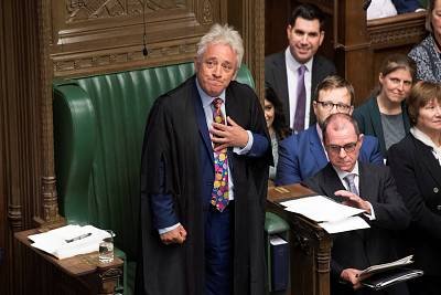 Speaker John Bercow reacts as he delivers a statement in Parliament on Monday.