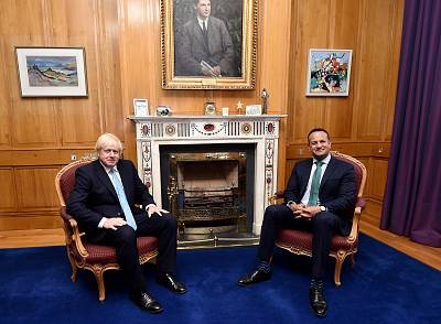 British Prime Minister Boris Johnson meets with Irish Taoiseach Leo Varadkar at Government Buildings on in Dublin on Monday.