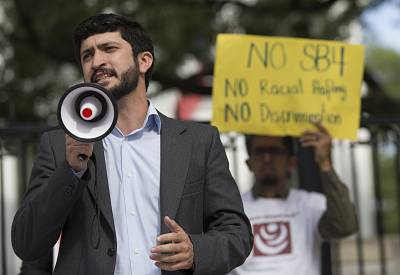 Gregorio Casar at a protest outside the Texas governor\'s mansion in Austin on May 8, 2017.