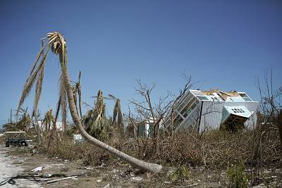 A house toppled over in Marsh Harbour, Bahamas.