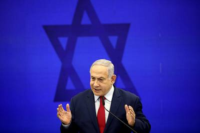 Israeli Prime Minister Benjamin Netanyahu speaks at a press conference in Tel Aviv on Tuesday.