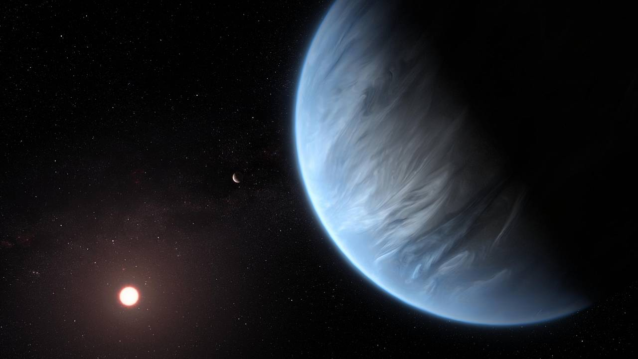 This artist's impression shows the planet K2-18b, its host star and an acco