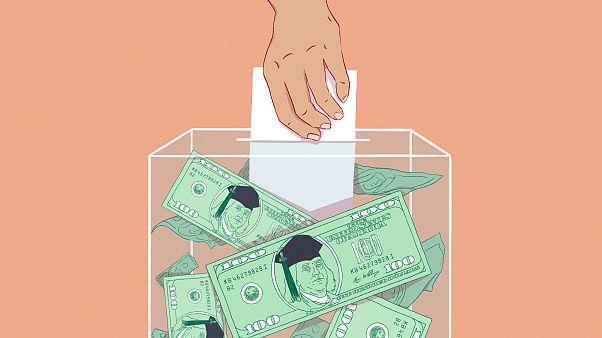 Illustration of hand casting ballot inside of ballot box full of 100 dollar