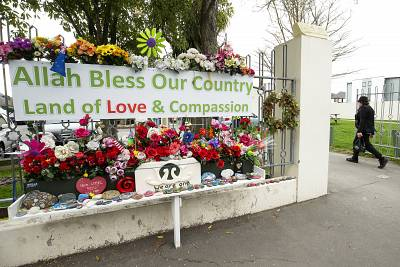 Flowers and messages of support at the Al Noor mosque.