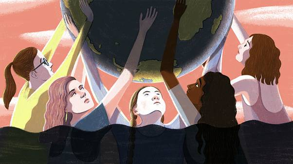 Illustration of young climate activists holding up the earth while waters r