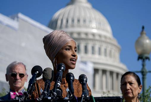 Image: Rep. Ilhan Omar, D-Minn., speaks outside of the Capitol on July 25,