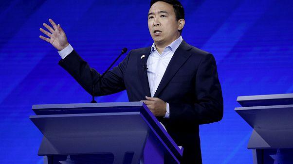 Image: Andrew Yang speaks at the Democratic presidential debate in Houston,