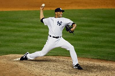 Mariano Rivera of the New York Yankees pitches against the Minnesota Twins in Game One of the ALDS during the 2009 MLB Playoffs at Yankee Stadium.