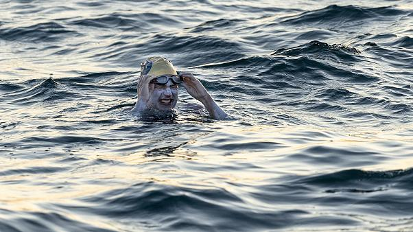 Image: Sarah Thomas swimming in the English Channel