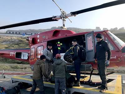 We packed the helicopter with food, equipment and other supplies for the trip out to Helheim Glacier.