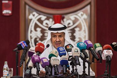 Saudi Arabia\'s Energy Minister Prince Abdulaziz bin Salman gives a press conference in Jeddah on Tuesday.