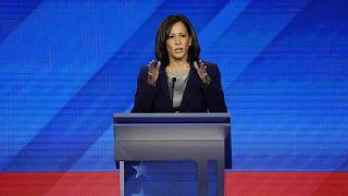 Image: Senator Kamala Harris speaks during the 2020 Democratic U.S. preside