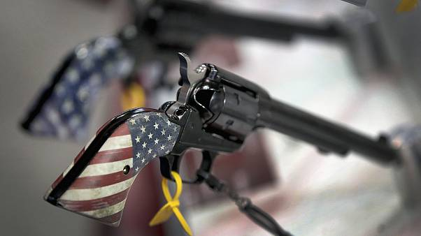 Image: Pistols are displayed in the Heritage Manufacturing booth at the 148