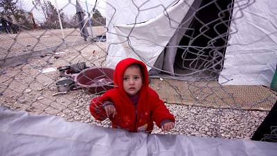 A young child inside the al Hol camp in northeastern Syria, Feb. 2019