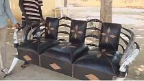 Cameroon Artisan makes chairs from cow horns