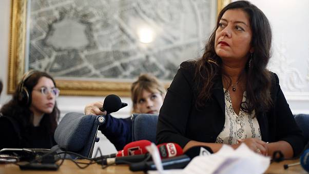 Image: French journalist Sandra Muller gives a press conference in Paris.