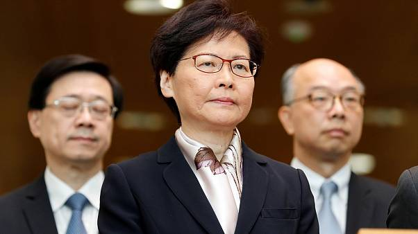 Image: Hong Kong Chief Executive Carrie Lam attends a news conference.