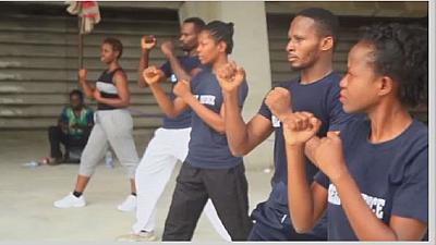 Nigerian women learning martial art for self defence