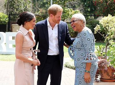 Prince Harry and his wife Meghan, meet Graca Machel, the widow of the late Nelson Mandela, in Johannesburg, South Africa, on Wednesday.