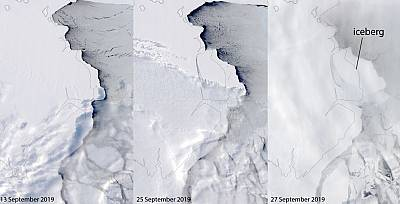 A giant iceberg known as D-28 broke off of the Amery Ice Shelf in East Antarctica.