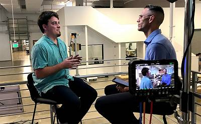 NBC\'s Jacob Ward interviews the co-founder of Anduril Industries, Palmer Luckey, at the company\'s new 155,000-square-foot headquarters in Irvine, California.