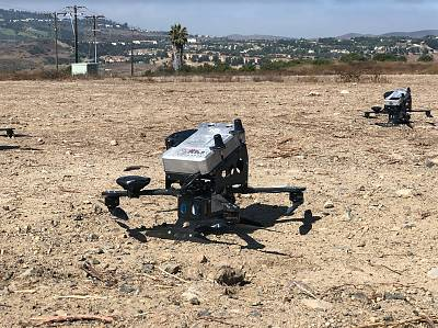"""An """"Interceptor"""" drone is poised to blast into the sky at the test site of Anduril Industries outside Irvine, California."""