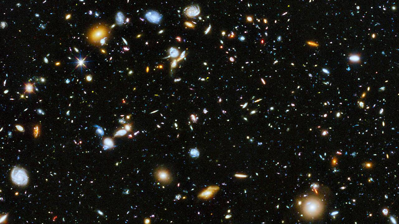 Image: A view of the distant universe produced by the Hubble Space Telescop